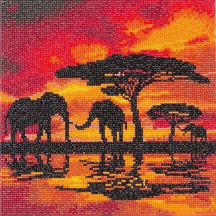 DIY Crystal Art Kits - Framed Canvas 30x30cm - Elephant Silhouette 1
