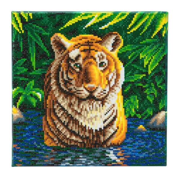 DIY Crystal Art Kits - Framed Canvas - Tiger Pool 1