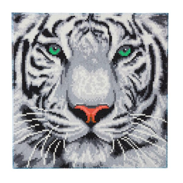 DIY Crystal Art Kits - Framed Canvas - White Tiger 1