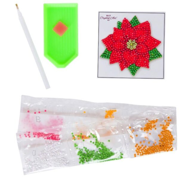 DIY Crystal Art Kits - Motif Kit - Festive Poinsettia 2