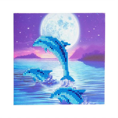 DIY Crystal Art Kits - Card Kit 18x18cm - Moonlight Dolphins 1