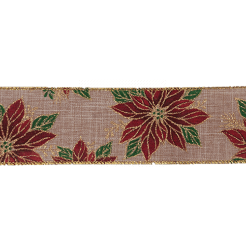 Poinsettia Christmas Wire Edged Ribbon 1