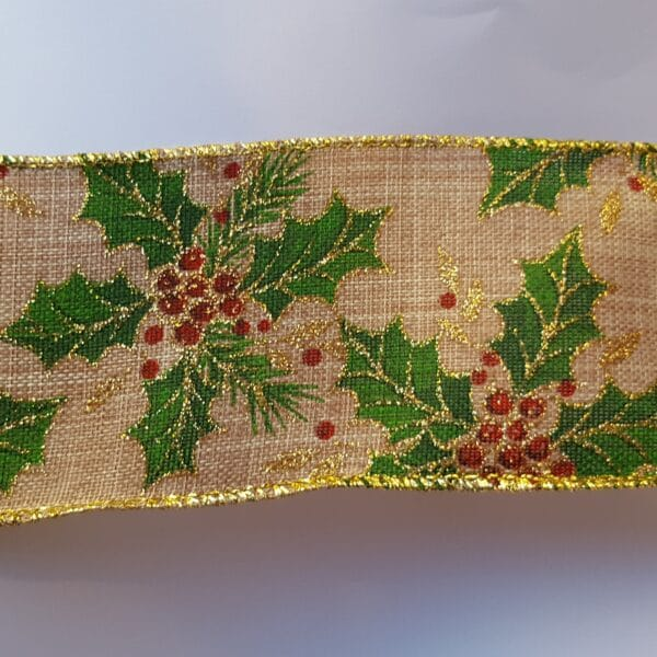 Holly Christmas Wire Edged Ribbon 1