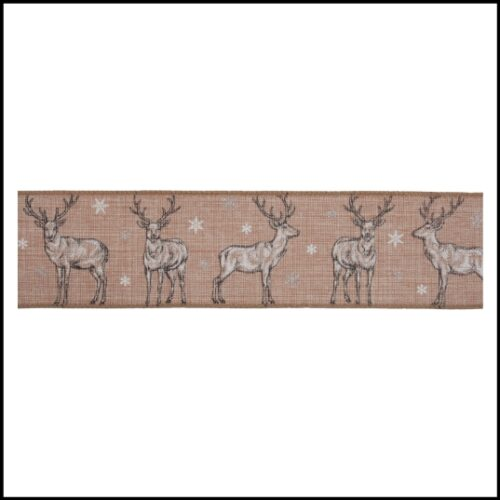 Stag Christmas Wire Edged Ribbon 1