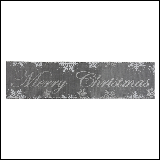 Silver Merry Christmas Wire Edged Ribbon 1