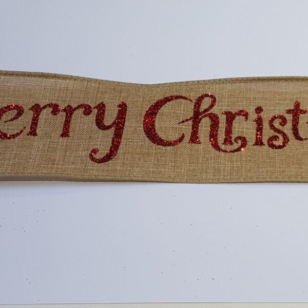 Red Merry Christmas Wire Edged Ribbon 1