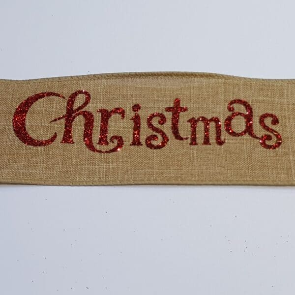 Red Merry Christmas Wire Edged Ribbon 3