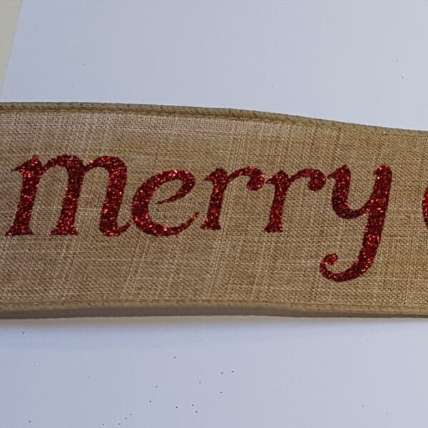 Red Merry Christmas Wire Edged Ribbon 2