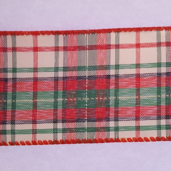 Red, Green & Cream Tartan Christmas Wire Edged Ribbon 1