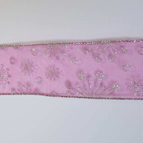 Pink Organdy Christmas Wire Edged Ribbon 1