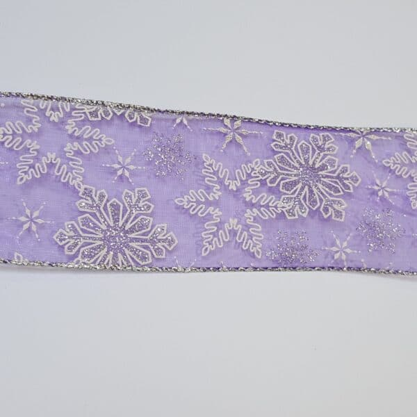 Purple Organdy Christmas Wire Edged Ribbon 1