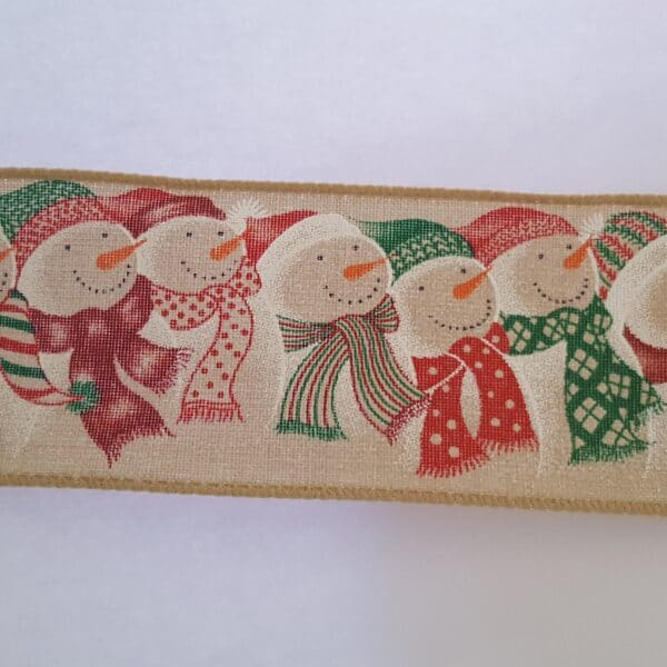 Cute Snowmen Christmas Wire Edged Ribbon 1