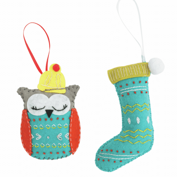Trimits - Make Your Own Felt Decoration Kit - Owl and Stocking 3