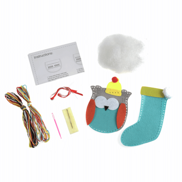 Trimits - Make Your Own Felt Decoration Kit - Owl and Stocking 2