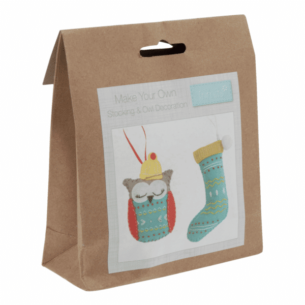 Trimits - Make Your Own Felt Decoration Kit - Owl and Stocking 1
