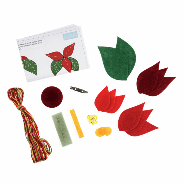 Trimits - Make Your Own Felt Decoration Kit - Poinsettia Brooch 2