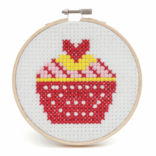 Trimits - Felt Cross Stitch Hoop Kit - Cupcake 3