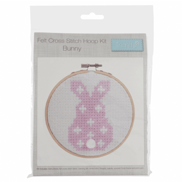 Trimits - Felt Cross Stitch Hoop Kit - Bunny 1