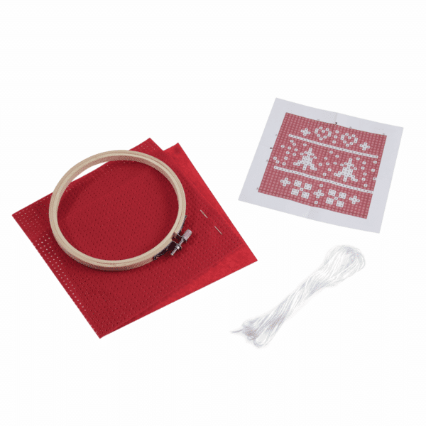 Trimits - Felt Cross Stitch Hoop Kit - Nordic Red 2