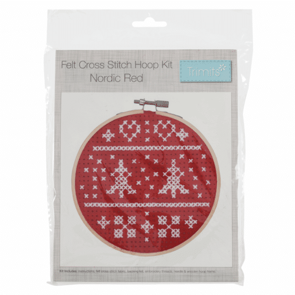 Trimits - Felt Cross Stitch Hoop Kit - Nordic Red 1