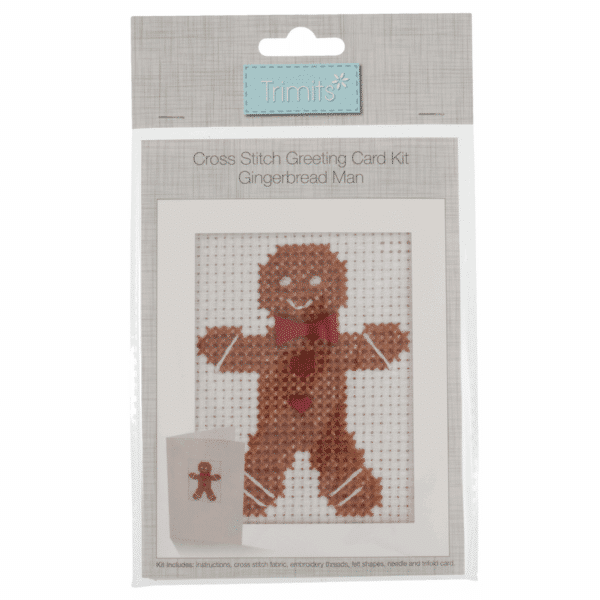 Trimits - Cross Stitch Greeting Card Kit - Gingerbread Man 1