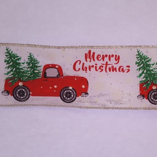 Red Truck Christmas Wire Edged Ribbon 1