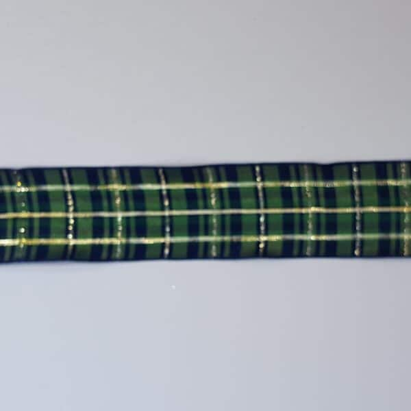 Blue, Green & Gold Tartan Christmas Wire Edged Ribbon 1