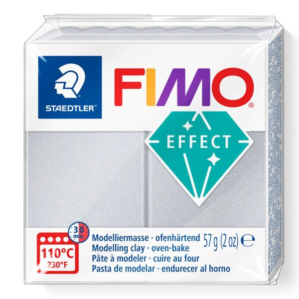 Fimo Effect Modelling Clay - Pearl Light Silver 1