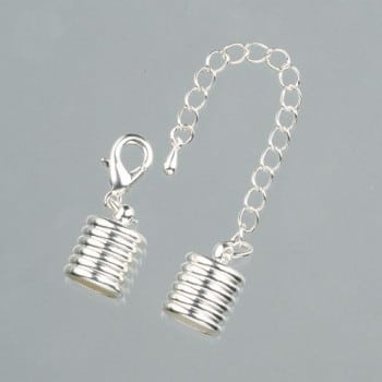 Efco - Grooved End Caps with Chain - 10mm - Silver 1