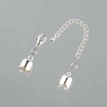 Efco - Tulip End Caps with Chain - 10mm - Silver Plated 1