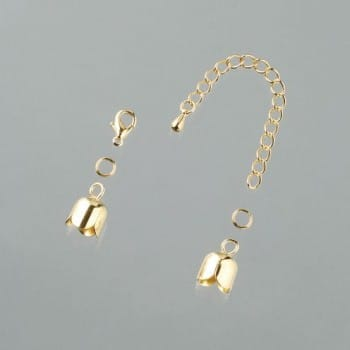 Efco - Tulip End Caps with Chain - 8mm - Gold Plated 1