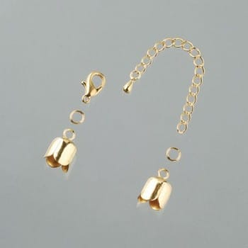 Efco - Tulip End Caps with Chain - 10mm - Gold Plated 1