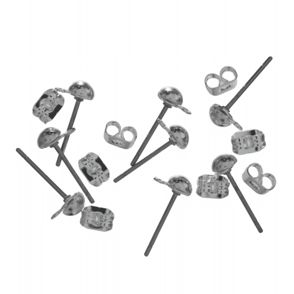 Trimits - Ear Posts - Stud & Ring with Scroll - Silver Plated 1
