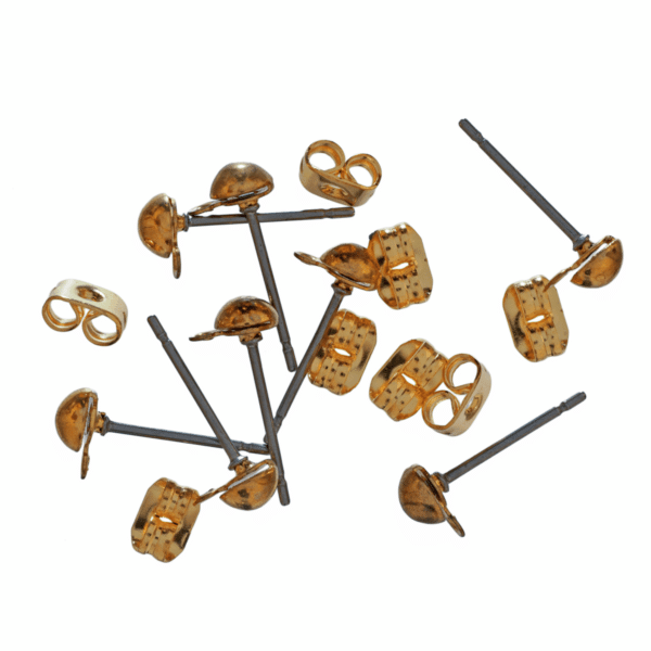 Trimits - Ear Posts - Stud & Ring with Scroll - Gold Plated 1