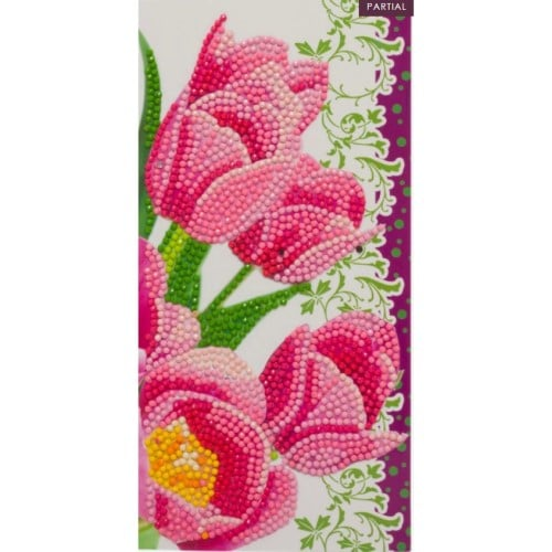 DIY Crystal Art Kits - Card Kit 11x22cm - Pink Tulips 4
