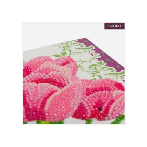 DIY Crystal Art Kits - Card Kit 11x22cm - Pink Tulips 3