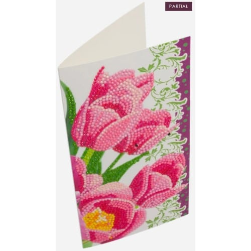 DIY Crystal Art Kits - Card Kit 11x22cm - Pink Tulips 2