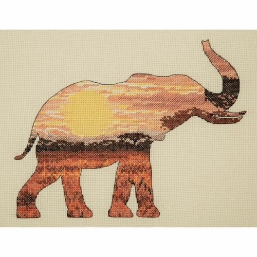 Maia Collection - Counted Cross Stitch Kit - Elephant Silhouette 1