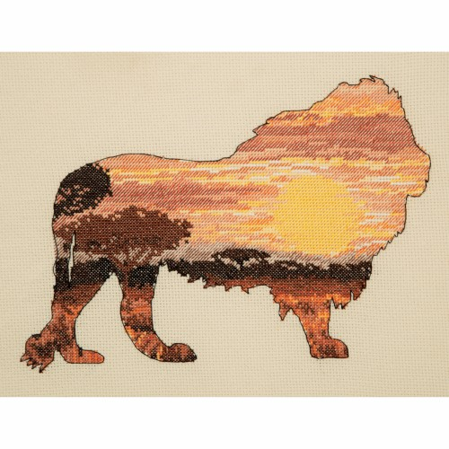 Maia Collection - Counted Cross Stitch Kit - Lion Silhouette 1