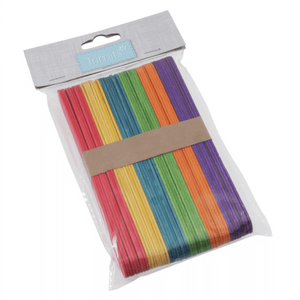 Trimits - Wooden Lollipop Sticks - Multi Coloured - 150mm x 18mm x 1.6mm 1