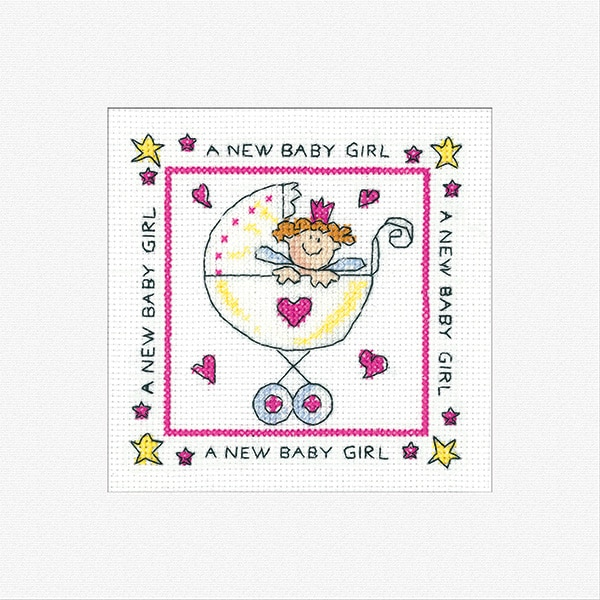 Heritage Crafts - Greetings Cards by Karen Carter - New Baby Girl 1