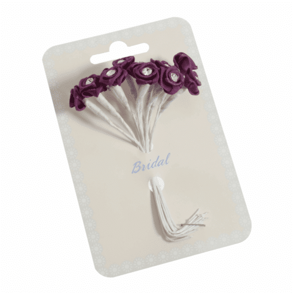 Occasions - Ribbon Roses - Diamante Plum - 13mm 1
