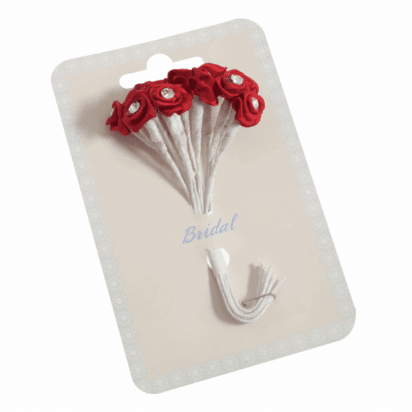 Occasions - Ribbon Roses - Diamante Red - 13mm 1