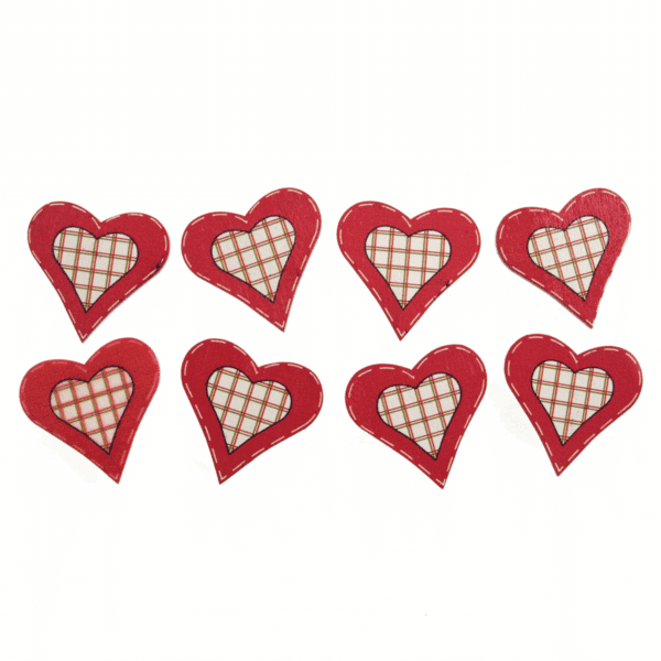 Trimits - Craft Embellishments - Red Check Hearts 1