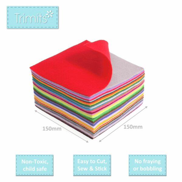 Felt Squares Pack of 42 Mixed Colours 15x15cm 4
