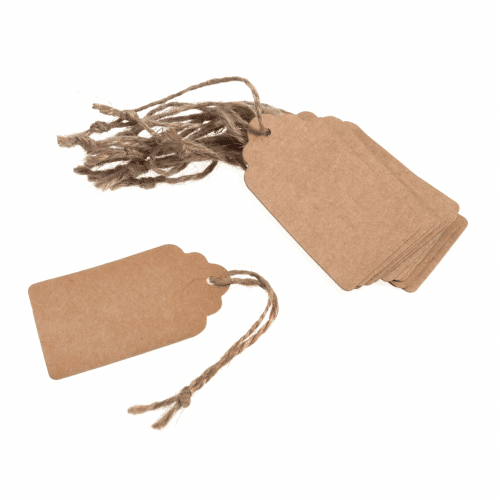 Tags - Natural Scalloped Rectangle - 3.9cm x 7cm 2
